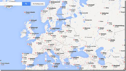 Google flights SFO-Europe Oct 15