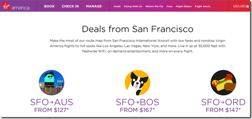 Virgin America SFO sale 8-14
