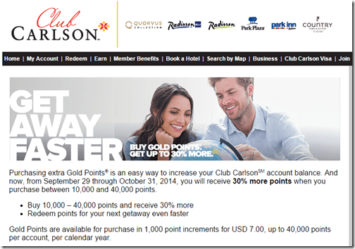 Carlson buy points 30percent to 10-31-2014