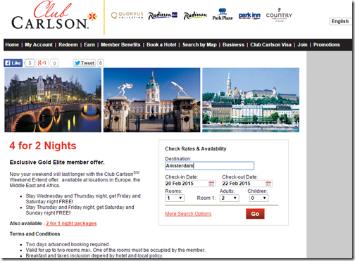 Club Carlson 4-for-2 rate