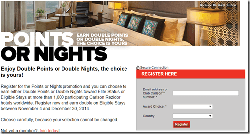 Club Carlson 2014Q4 2x points