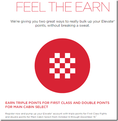 Virgin America Feel the Earn 3x
