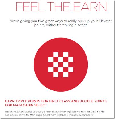 Virgin America Feel the Earn 3x