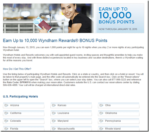 Wyndham 1K nights to Jan 13-2015