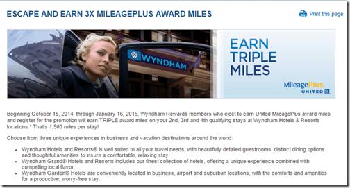 Wyndham 3x United miles