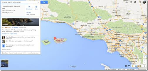 Google Maps Channel Islands National Park