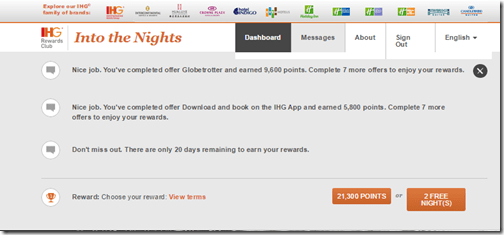 IHG into the Nights Reward choice