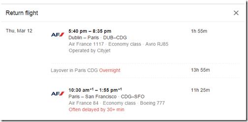 Google Flights DUB-SFO via Paris