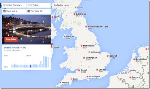 Google Flights Dublin fare calendar