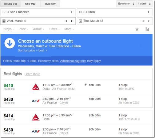 Google Flights SFO-Dublin 410
