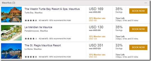 SPG Hot Escapes Mauritius