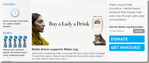 stella Artois buy a lady a drink water