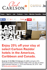 Club Carlson 2-13-15 3-day sale