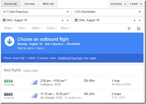 Google Flights SFO-ARN 654