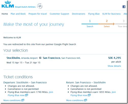 ARN-SFO KLM $500 April 2015