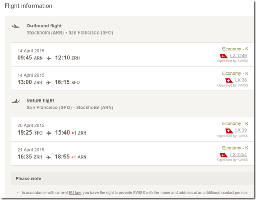 ARN-SFO Swiss $544 April 2015