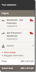 ARN-SFO Swiss airfare 4673 SEK
