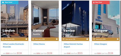 Hilton 7-day sale sample rates