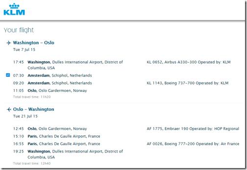 IAD-OSL KLM July 2015