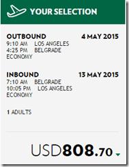 LAX-BEG Alitalia $809