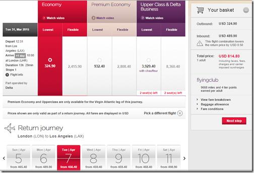 LAX-LHR Virgin $815