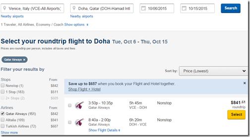 Qatar VCE-DOH $841