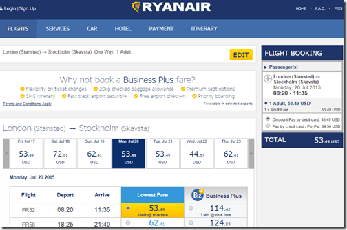 RyanAir London STN NYO Stockholm $54