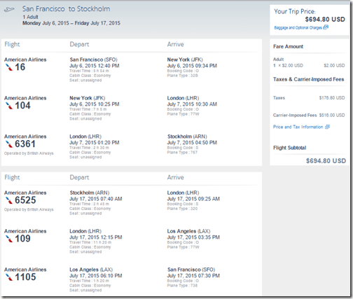 SFO-ARN AA-BA July 15 $695