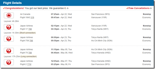 SFO-SGN April22-May7-2015-JAL $732