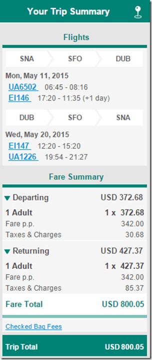 SNA-DUB Aer Lingus $800 fare
