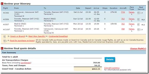 YVR-MAD $680 Air Canada