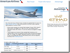 AAdvantage Etihad earning exception