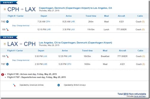 CPH-LAX US May15 $510