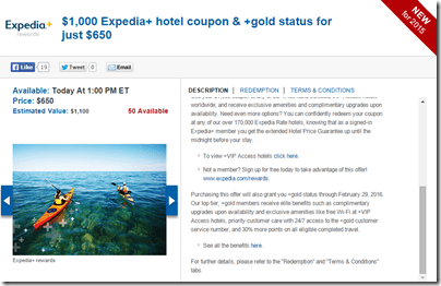 Expedia $1000 for $650 Daily Getaways