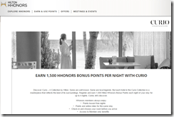 HHonors Curio Collection 1500 points Q2-2015