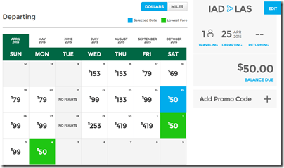 IAD-LAS Frontier $50 April 15