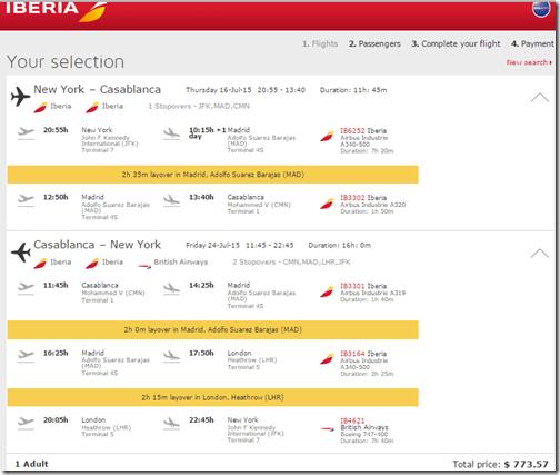 JFK-CMN Casablanca Iberia $774 July