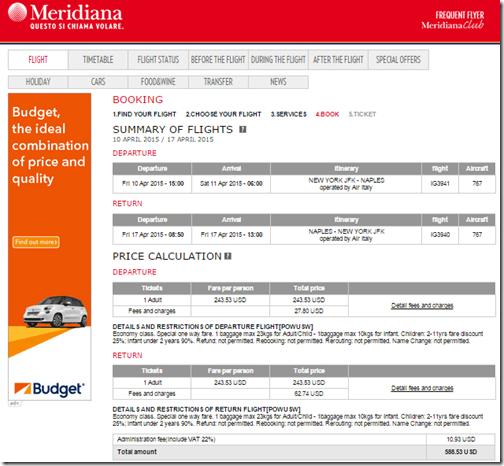 JFK-NAP Meridiana $589