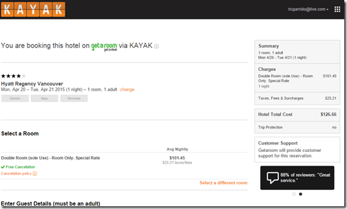 Kayak Hyatt Regency Vancouver $101.45