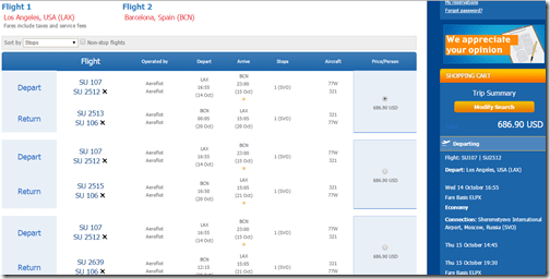 LAX-BCN $687 Aeroflot