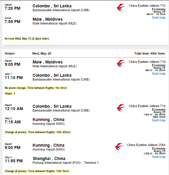 Lax Male Maldives China Eastern 924 To 1 200 Etihad And