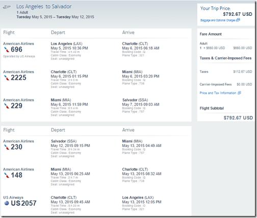 LAX-SSA Salvador Brazil $793