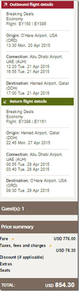 ORD-DOH Etihad $854 April15