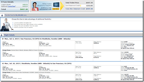 SFO-ARN $606 July15 United