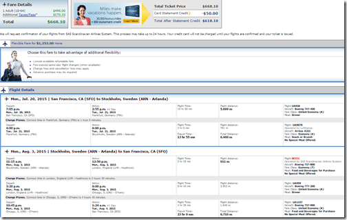 SFO-ARN UA July15 $670