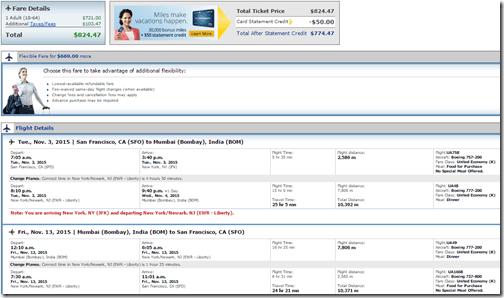 SFO-BOM $825 United