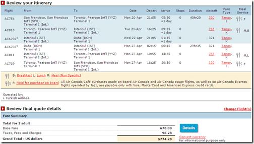 SFO-DOH Air Canada $775