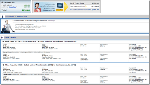 SFO-DXB $731 United May15