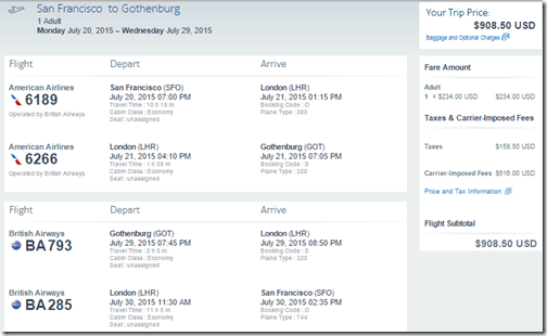 SFO-GOT BA $909 July15