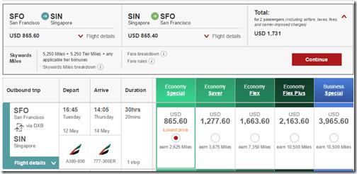 SFO-SIN Emirates $866 May15